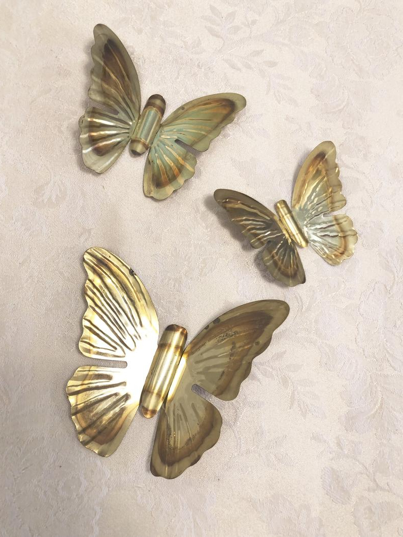Most Popular 3 Piece Capri Butterfly Wall Decor Sets Pertaining To 3 Brass Butterflies Japanese Brass Gold Wall Decor Victorian (Gallery 7 of 20)