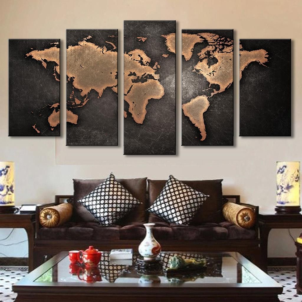 Most Popular 5 Pcs Modern Abstract Wall Art Painting World Map Canvas Painting Intended For Abstract Bar And Panel Wall Decor (View 12 of 20)