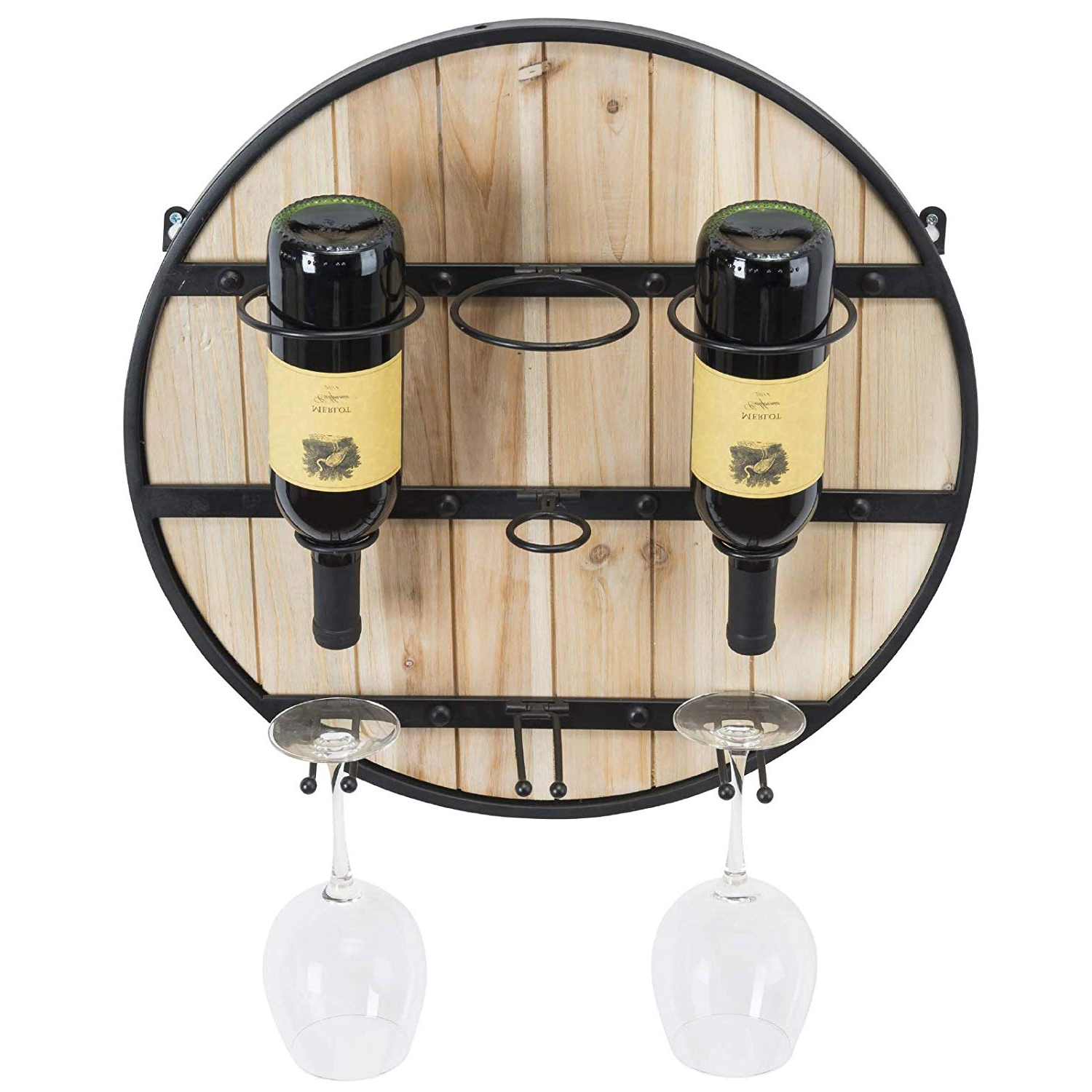 Most Popular Amazon: Excello Global Products Wooden Wall Mounted Wine Rack For Three Glass Holder Wall Decor (View 11 of 20)