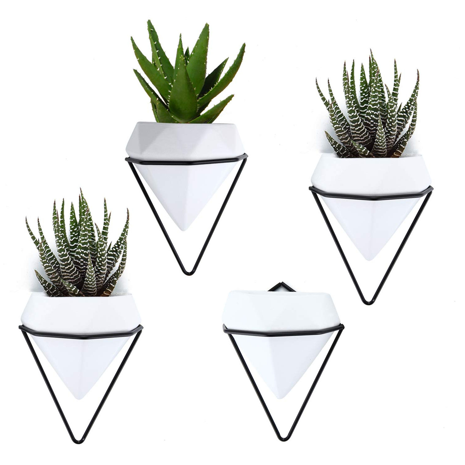 Most Popular Amazon: T4U Diamond Wall Planters Geometric Wall Vases Set Of 4 Intended For Trigg Ceramic Planter Wall Decor (View 13 of 20)