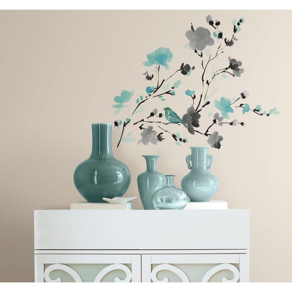 Most Popular Birds On A Branch Wall Decor In Roommates 5 In. X 11.5 In. Blossom Watercolor Bird Branch Peel And (Gallery 17 of 20)