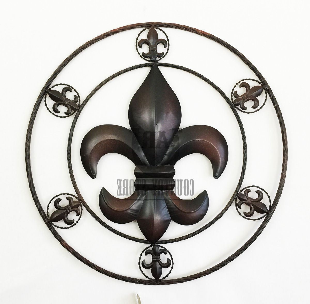Most Recent Fleur De Lis Metal Rope Circle Western Rustic Country Art Wall Intended For Metal Rope Wall Sign Wall Decor (View 13 of 20)