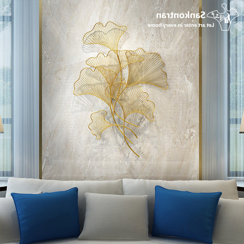 Most Recent Handmade Asian Metal Wall Decor Golden Gingko Leaf For Living Room Intended For Leaves Metal Sculpture Wall Decor (Gallery 16 of 20)