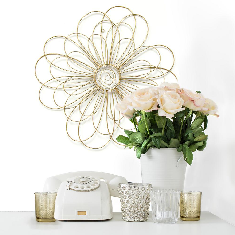 Most Recent Stratton Home Decor Gold Metal Wire Flower Wall Decor S07729 – The Inside Flower Wall Decor (View 11 of 20)