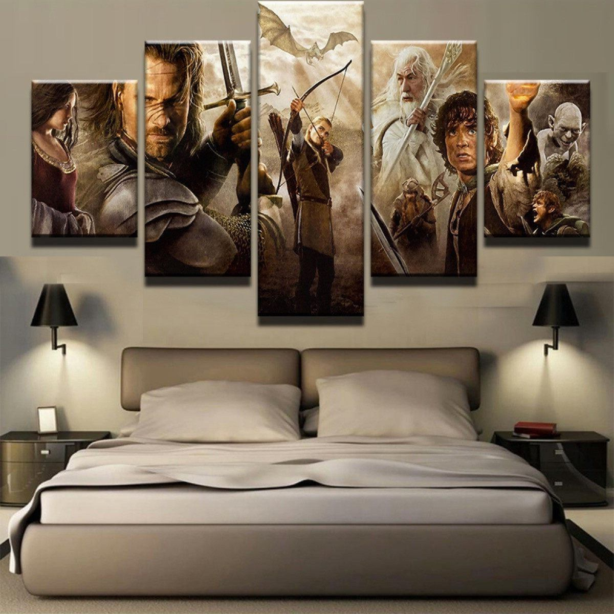 Most Recent The Lord Of The Rings 01 – Movie 5 Panel Canvas Art Wall Decor In Rings Wall Decor (Gallery 16 of 20)