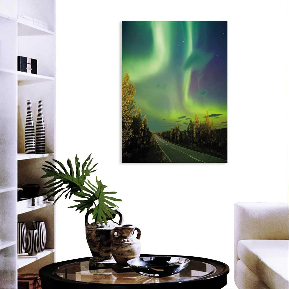 Most Recently Released Aurora Sun Wall Decor Inside Amazon: Aurora Borealis Wall Art Canvas Prints Highway Road (View 14 of 20)