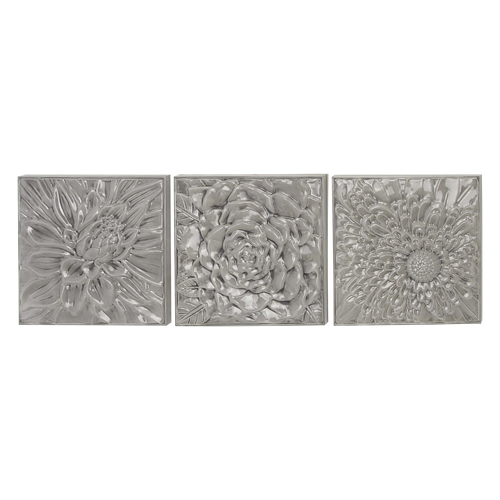 Most Recently Released Decmode Set Of 3 Modern Glazed Floral Iron Wall Decor, Gray In 3 Piece Star Wall Decor Sets (View 15 of 20)