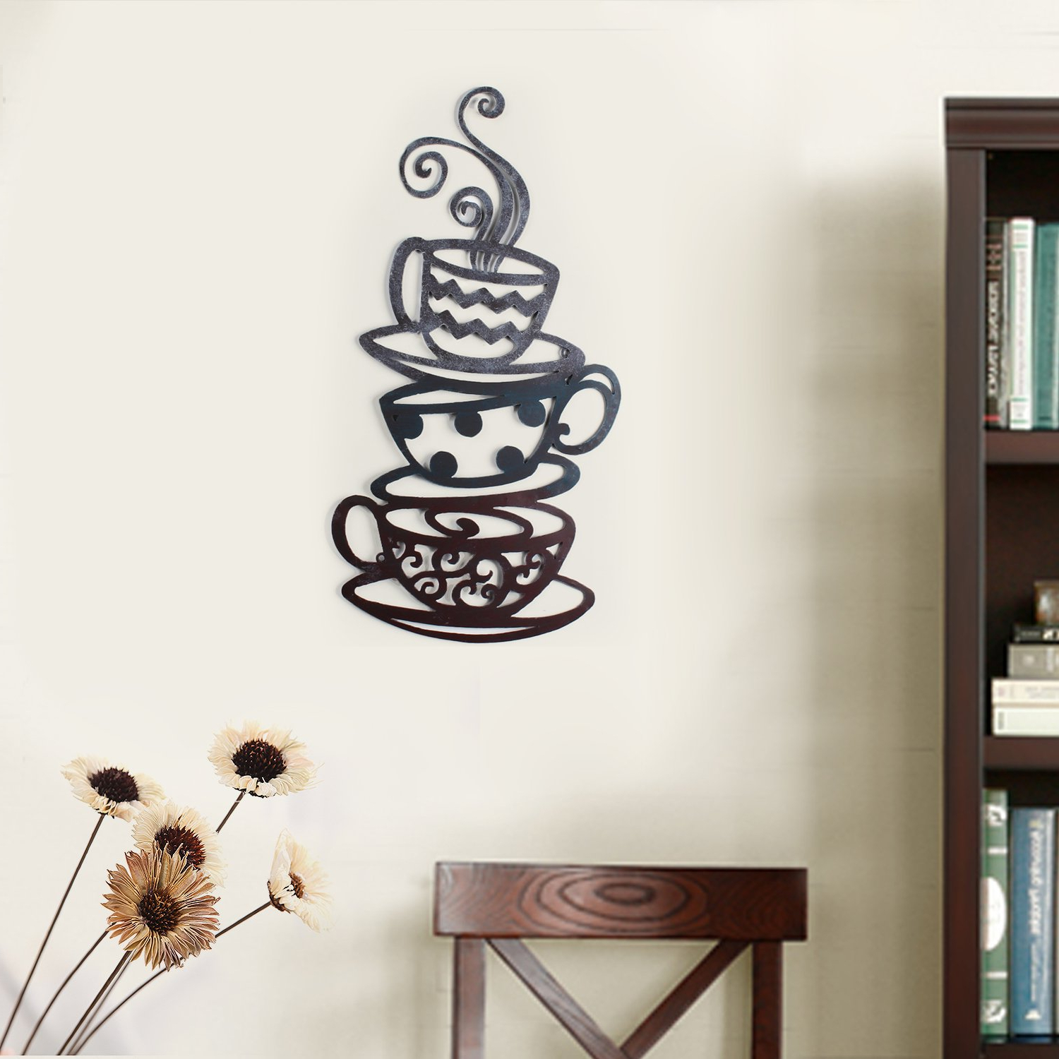 Most Recently Released Decorative Three Stacked Coffee Tea Cups Iron Widget Wall Decor In Amazon: Adeco Dn0008 Decorative Iron Wall Hanging Accents, Three (Gallery 3 of 20)