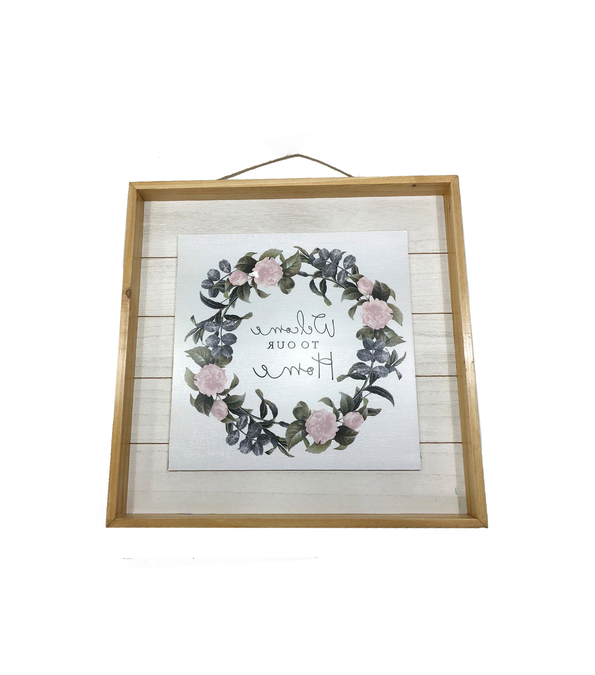 Most Recently Released Floral Wreath Wood Framed Wall Decor Throughout Simply Spring Wall Decor Welcome To Our Home & Wreath (View 12 of 20)