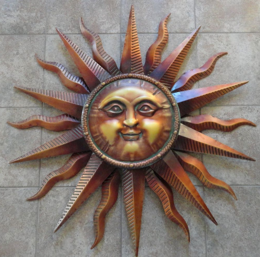 "Most Recently Released Large Copper Patina Sun Face Wall Hanging Metal Art Decor 38"" Indoor In Recycled Moon And Sun Wall Decor (View 7 of 20)"