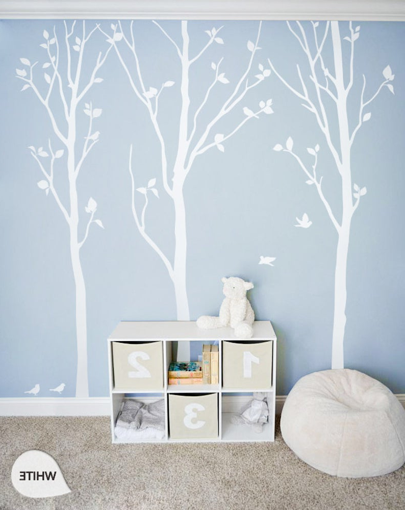 Most Recently Released Tree Wall Decor Intended For White Tree Wall Decals White Birch Trees Decal Nursery Wall (View 8 of 20)