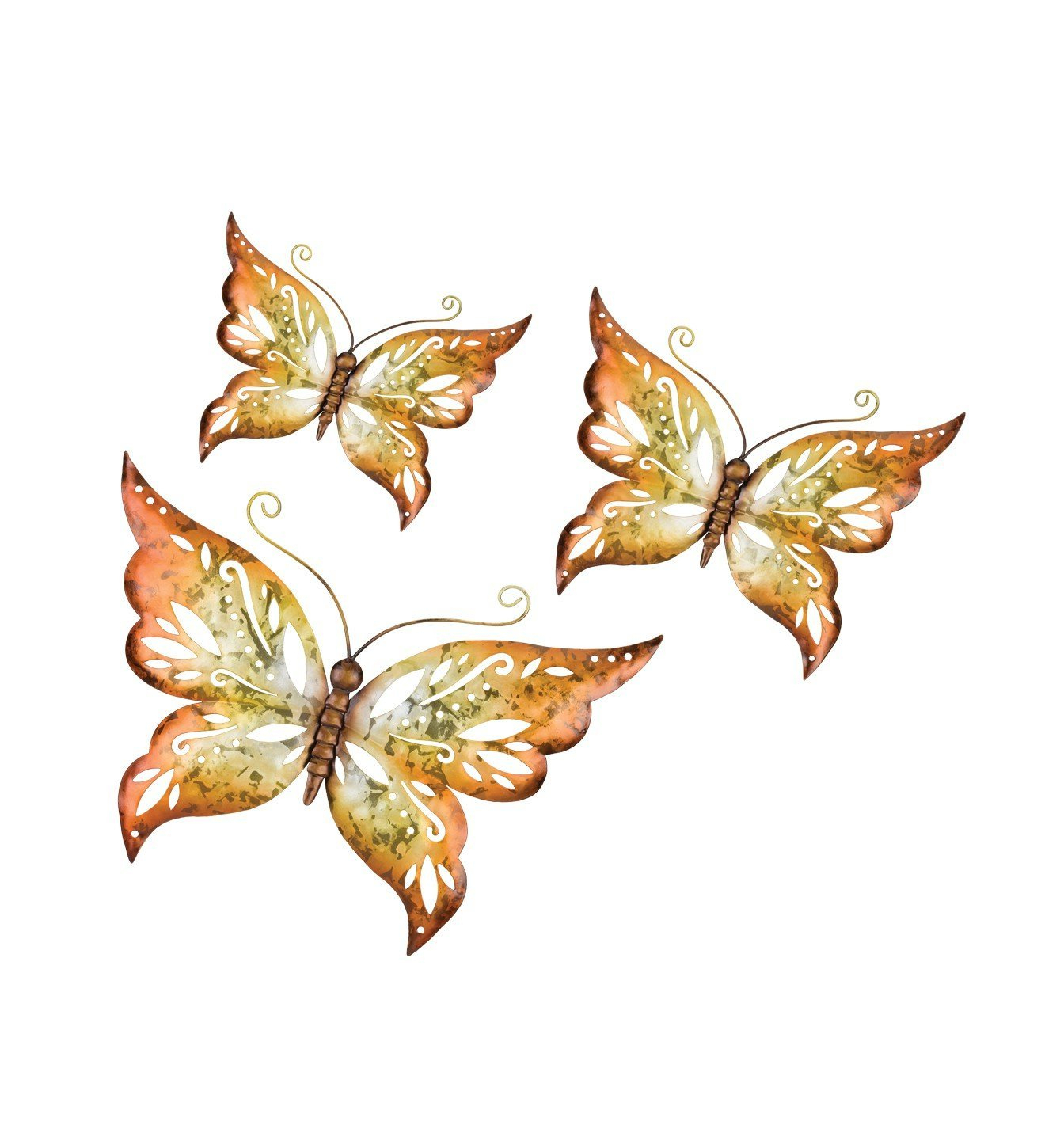 Most Up To Date Amazon: Regal Capri Set Of 3 Butterfly Wall Décor In Amber: Home Regarding 3 Piece Capri Butterfly Wall Decor Sets (View 17 of 20)