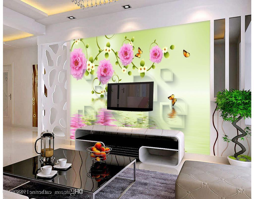 Most Up To Date Beautiful Three Dimensional Box Rose Flower Vine Background Wall Inside Three Flowers On Vine Wall Decor (View 9 of 20)