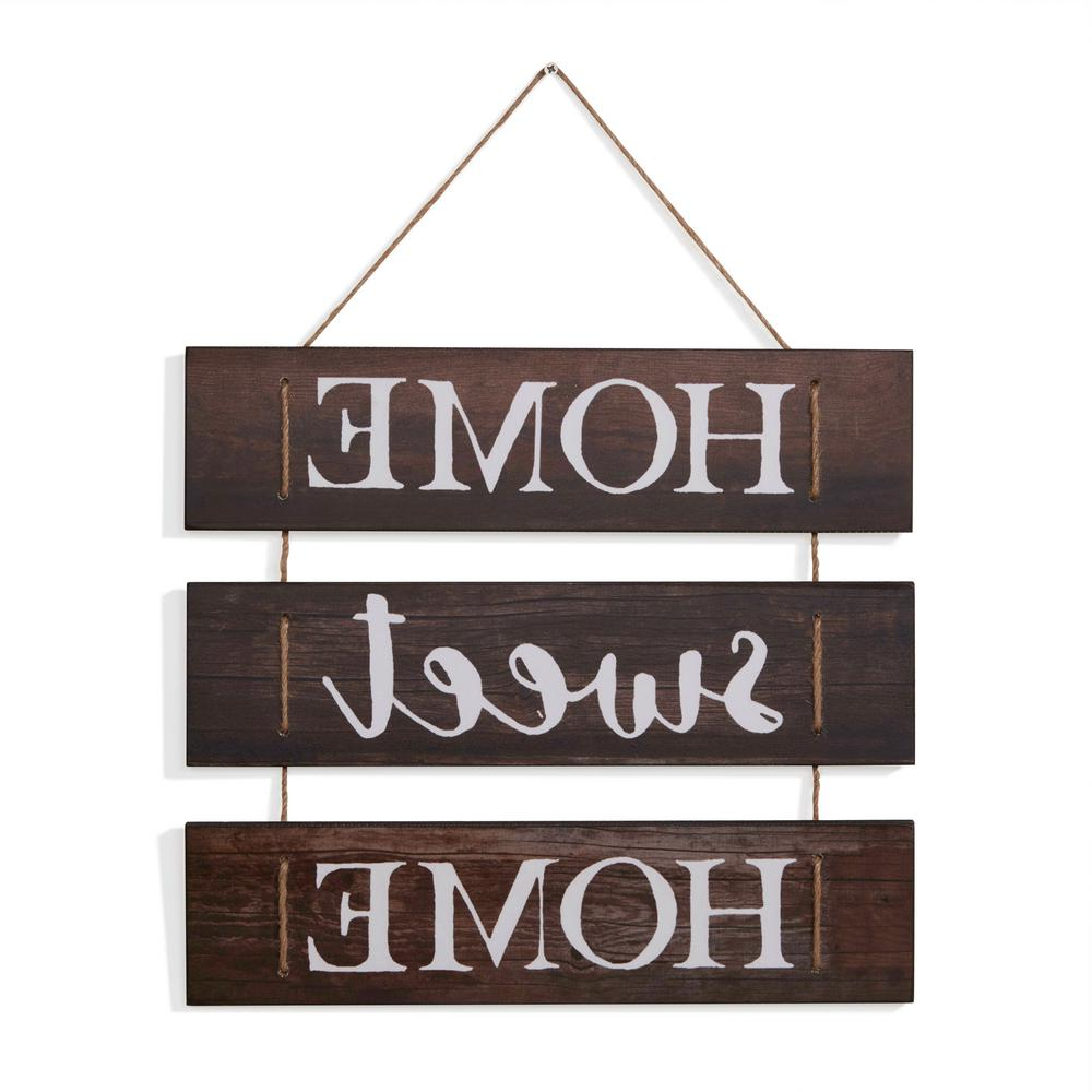 Most Up To Date Danya B Inspirational Home Sweet Home Wooden Wall Hanging Sign With Throughout Metal Rope Wall Sign Wall Decor (View 15 of 20)