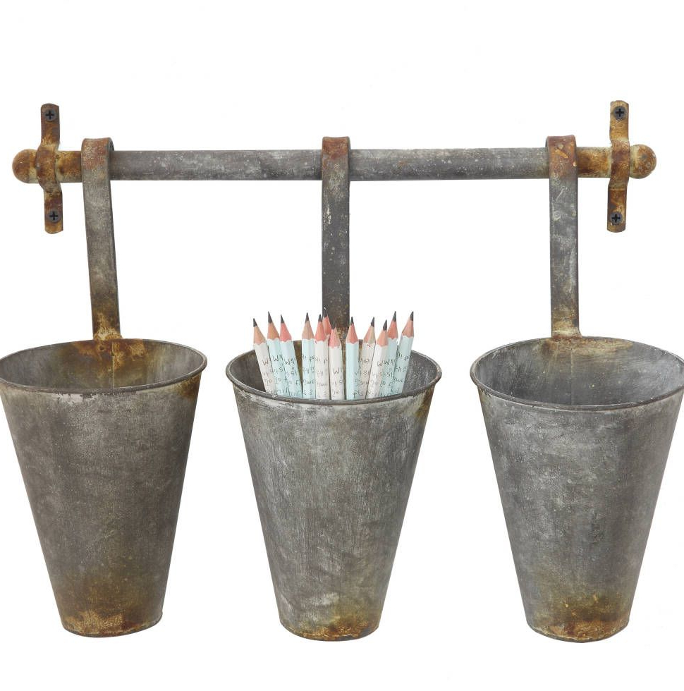Most Up To Date Farm Metal Wall Rack And 3 Tin Pot With Hanger Wall Decor In 2019 With Regard To Farm Metal Wall Rack And 3 Tin Pot With Hanger Wall Decor (Gallery 4 of 20)