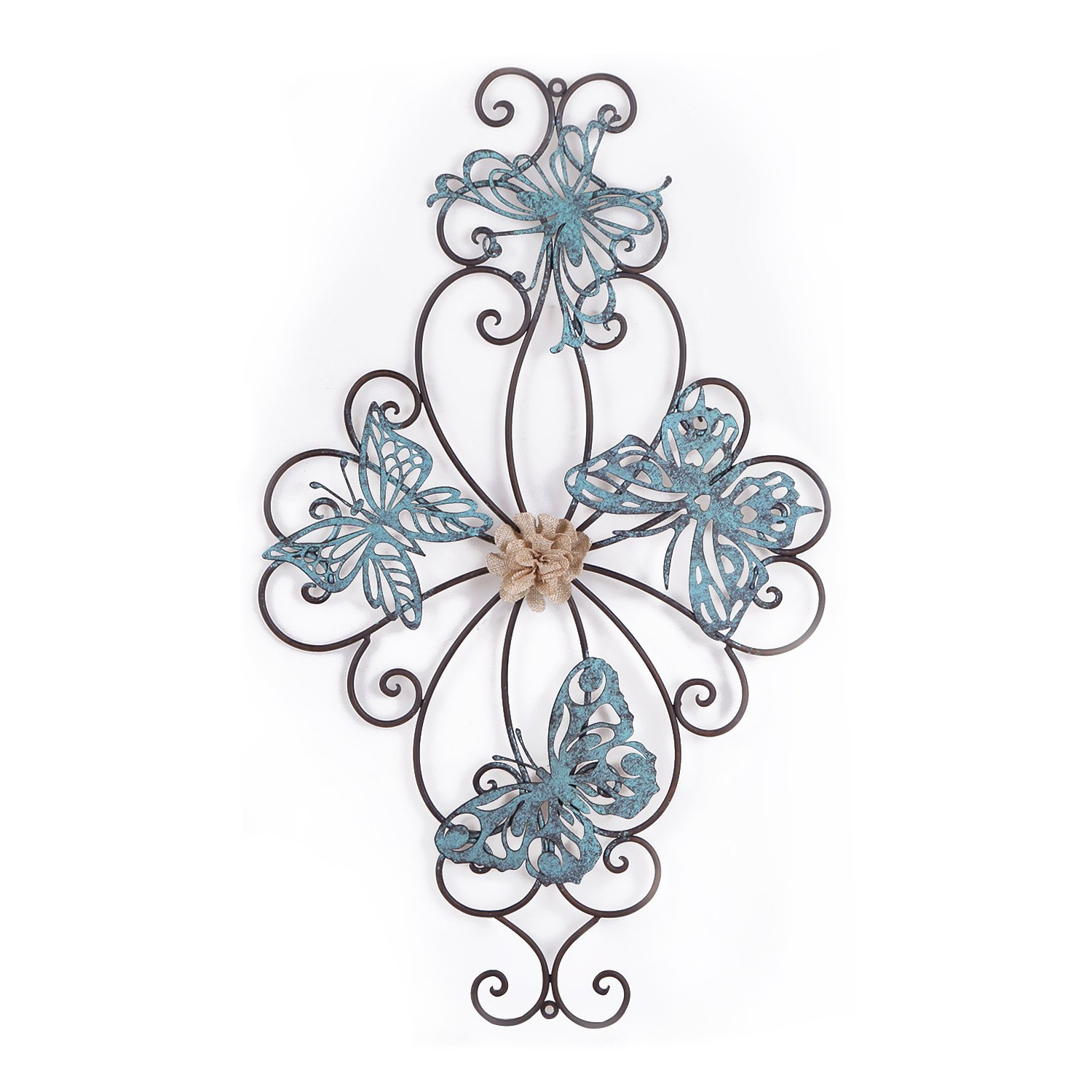 Most Up To Date Flower And Butterfly Urban Design Metal Wall Decor Pertaining To Amazon: Deco De Ville Natural Metal Wall Decor For Pretty Home (View 15 of 20)