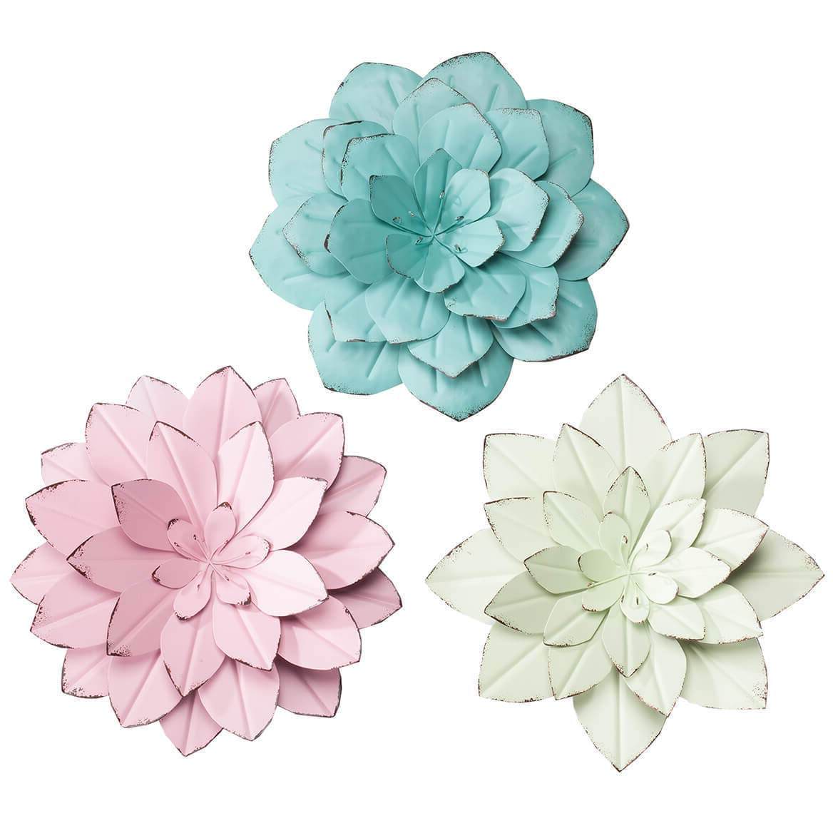Most Up To Date Metal Flower Wall Decor (Set Of 3) Within Amazon: K&n41 Indoor Outdoor Décor Metal Flower Wall Hangings (Gallery 9 of 20)
