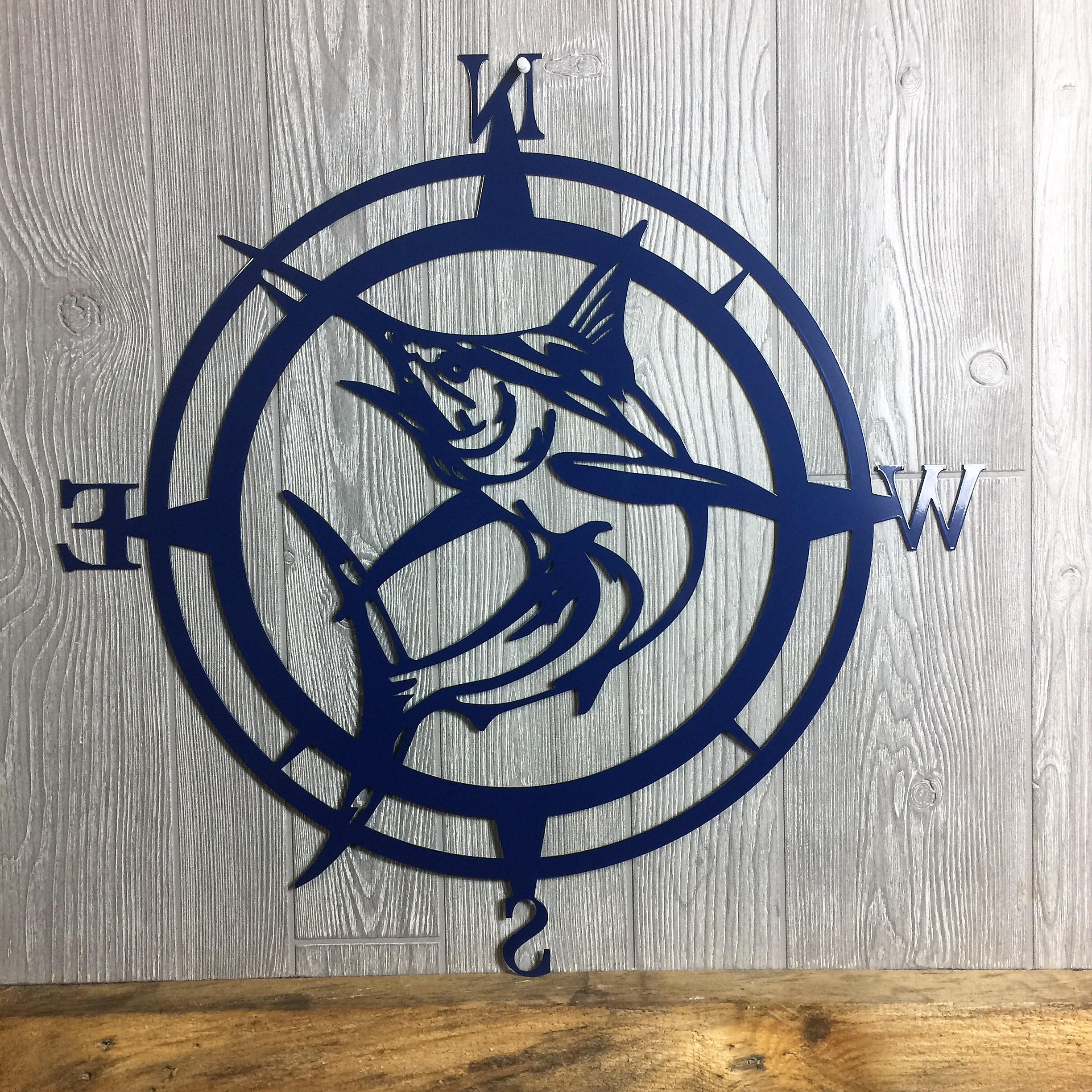 Most Up To Date Metal Marlin Compass,wall Art, Nautical Metal Wall Art, Nautical Rose With Round Compass Wall Decor (View 12 of 20)