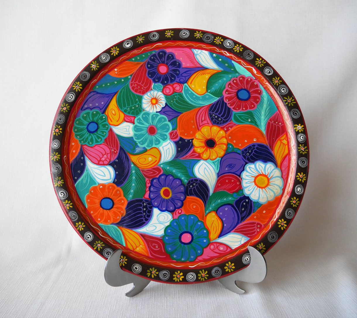 Multi Plates Wall Decor Within Widely Used Festive Wooden Mexican Floral Batea Platter, Plate, Tray, Multi (Gallery 16 of 20)