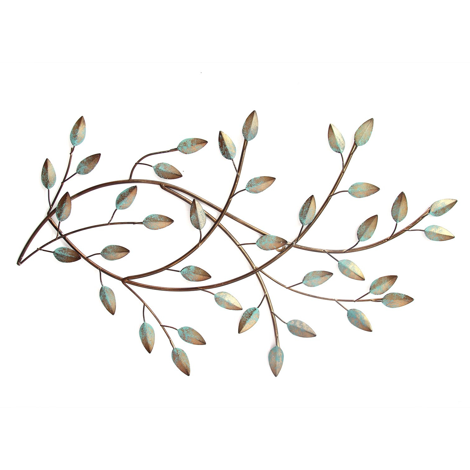 Newest Amazon: Stratton Home Decor Patina Blowing Leaves Wall Decor Inside Blowing Leaves Wall Decor (View 2 of 20)