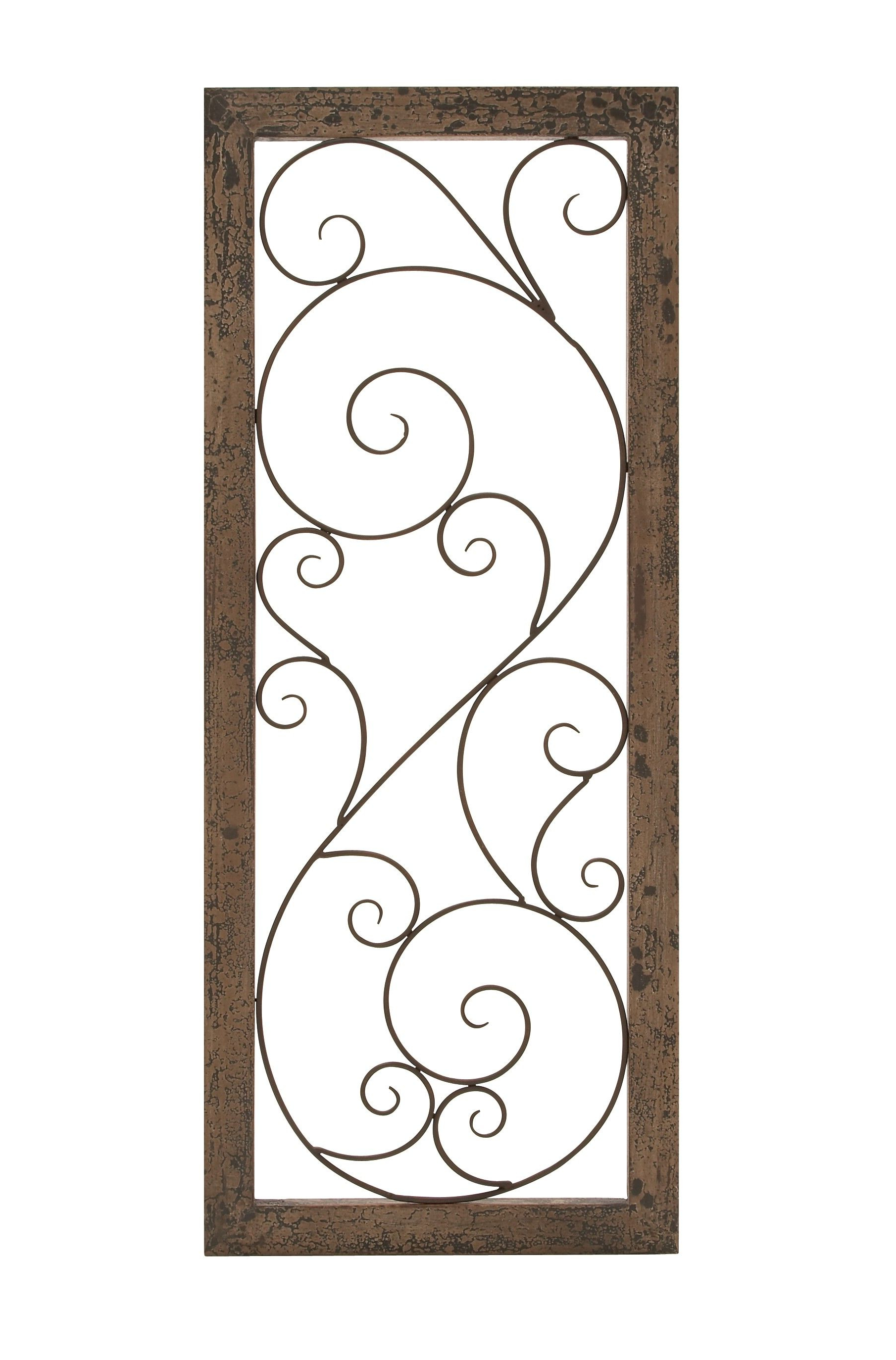 Newest Brown Wood And Metal Wall Decor With Regard To Elegant Wall Panel Set Brown Wood Bronzed Metal Scroll Work D (View 13 of 20)