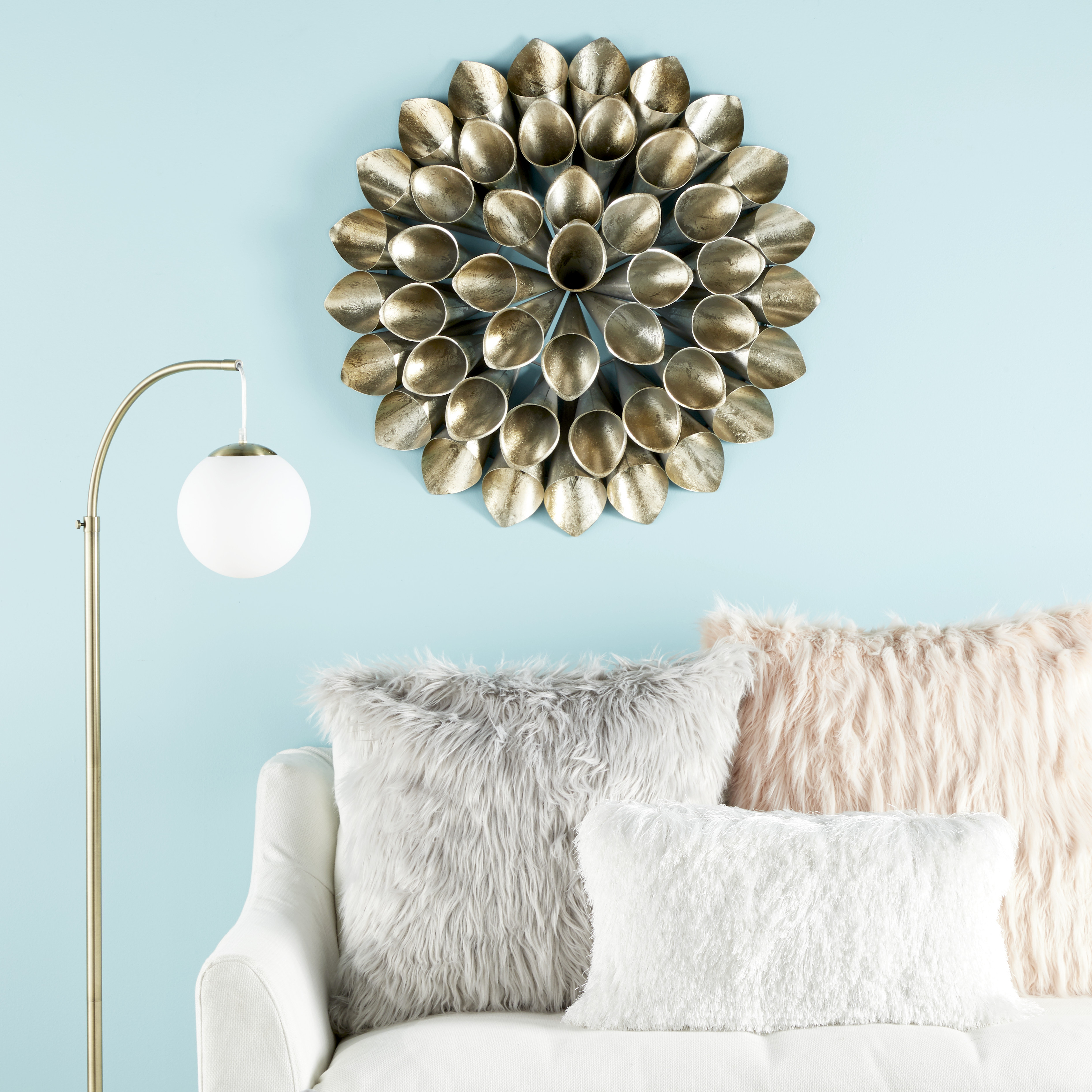 Newest Cosmoliving Large Round Metallic Gold Metal Floral Orb Wall Decor Inside Metal Wall Decor By Cosmoliving (View 16 of 20)
