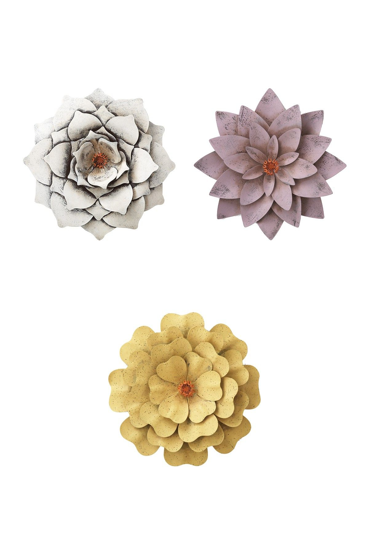 Newest Metal Flower Wall Decor (Set Of 3) Throughout Metal Flower Wall Decor – Set Of 3Transpac Imports On @hautelook (Gallery 1 of 20)