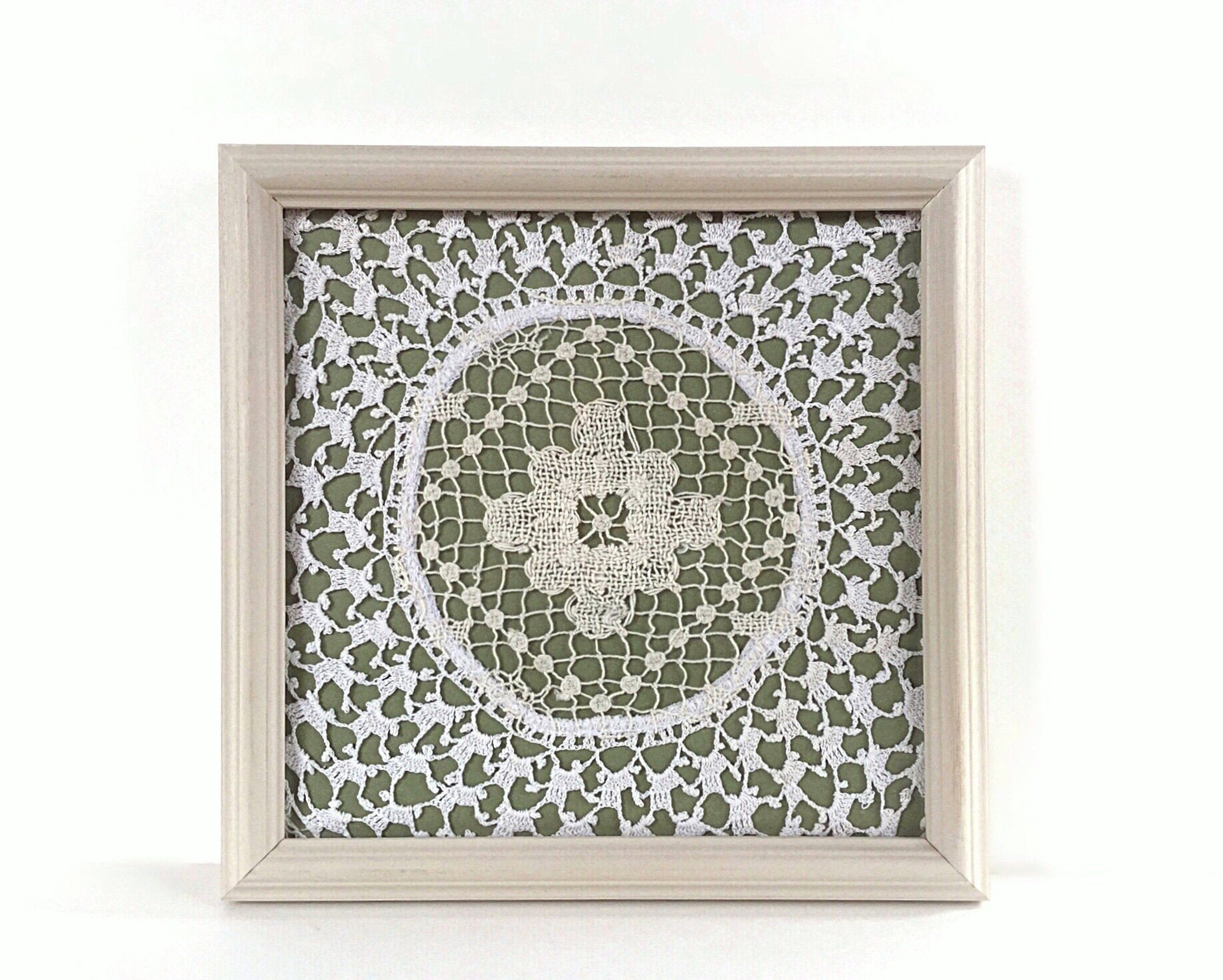 Newest Olive/gray Metal Wall Decor For Olive Green Wall Art Doily In A Frame Green Wall Decor (View 9 of 20)
