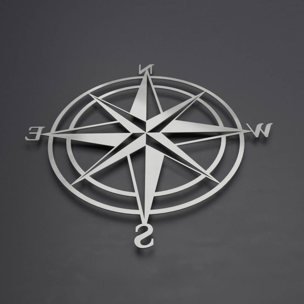 Newest Outdoor Metal Wall Compass Pertaining To 3D Compass Metal Wall Art, Nautical Rose Compass, Large Metal Wall (View 11 of 20)