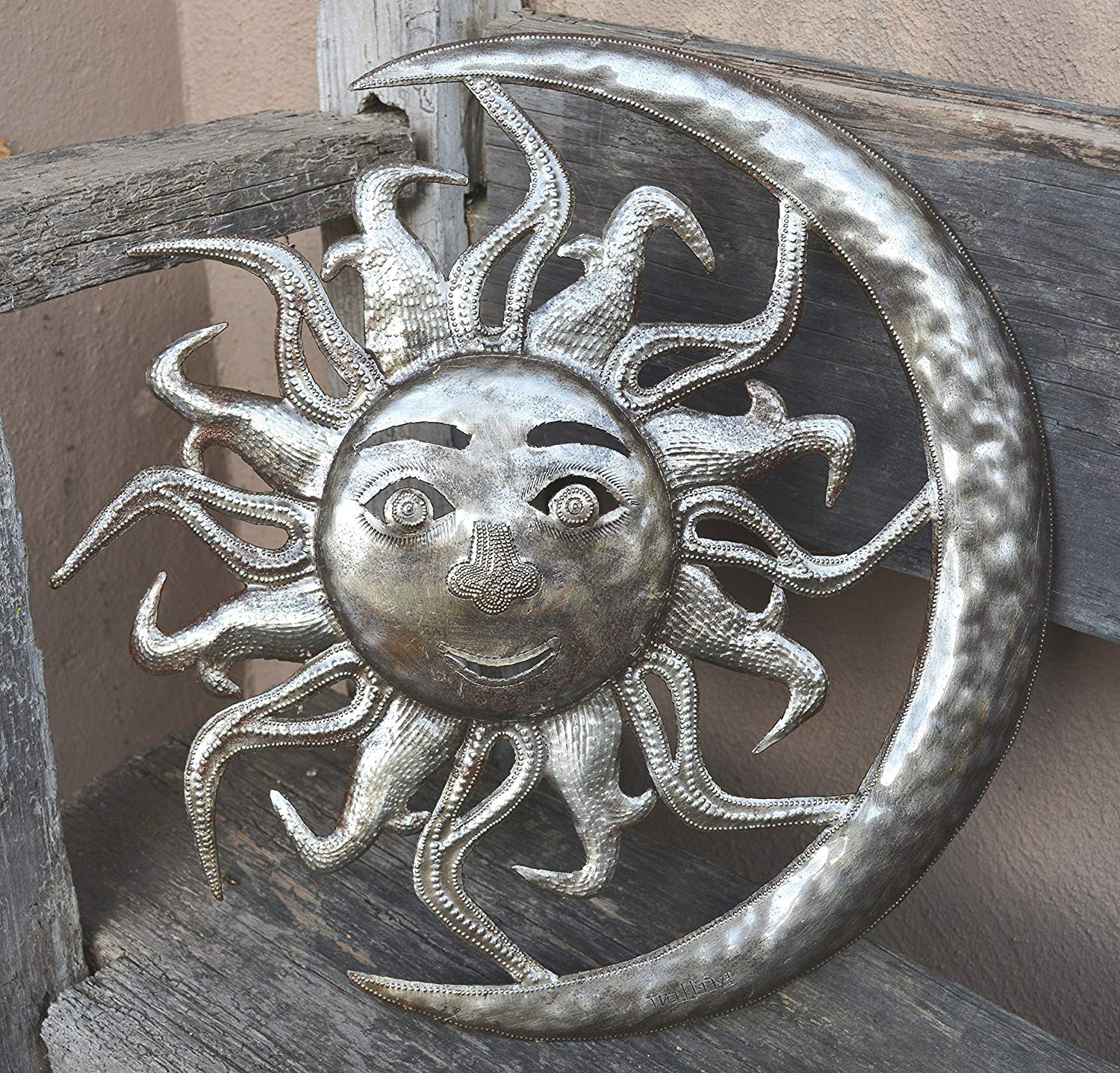 Newest Recycled Moon And Sun Wall Decor Throughout Amazon: Sun In Moon Wall Sculpture, Reclaimed Outdoor Home Art (View 8 of 20)