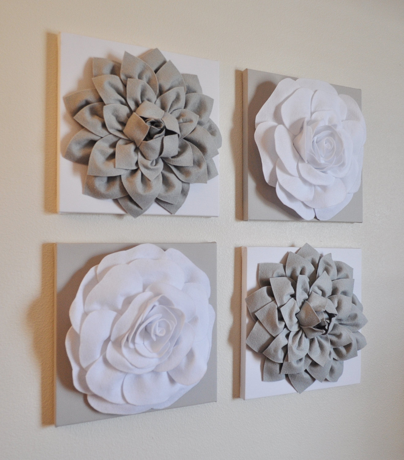 Newest Wall Decor Set Of Four Gray And White Flower Wall Hanging 12 (Gallery 6 of 20)