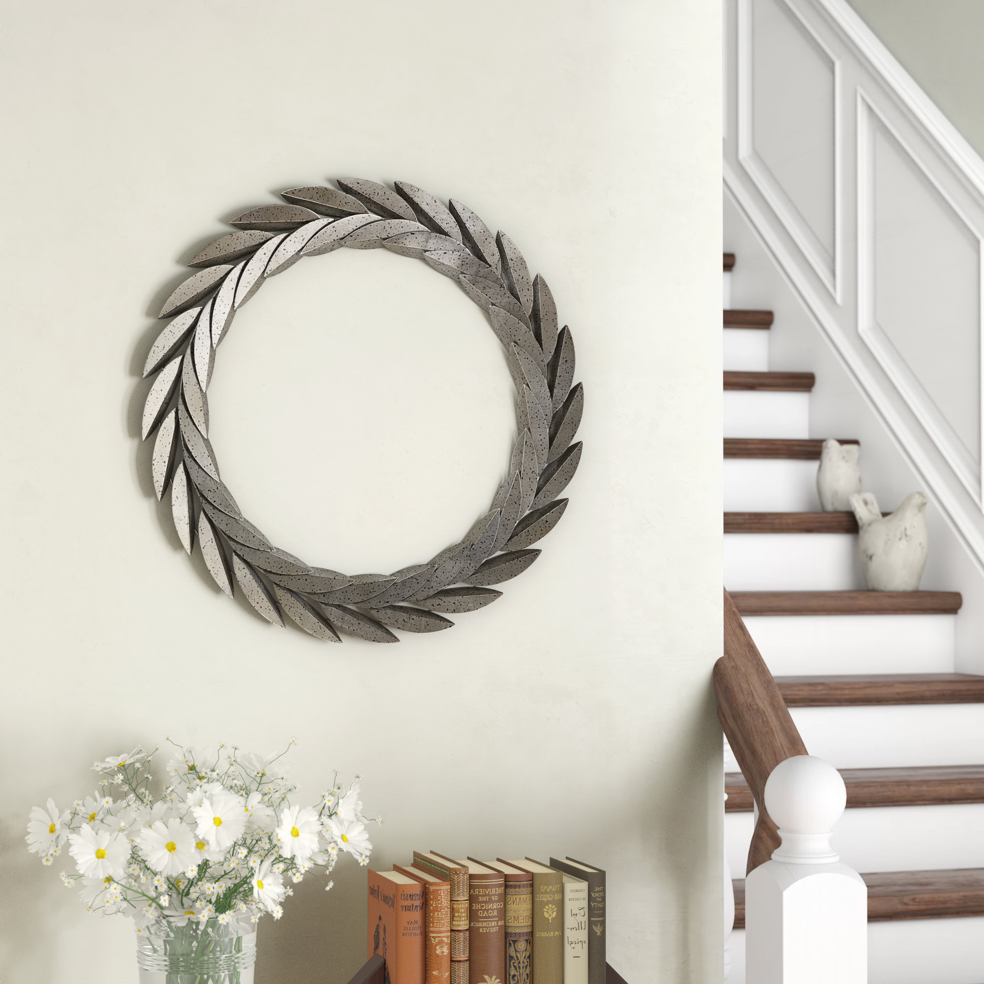 Olive/gray Metal Wall Decor Regarding Trendy Gracie Oaks Metal Wreath Wall Décor & Reviews (View 14 of 20)