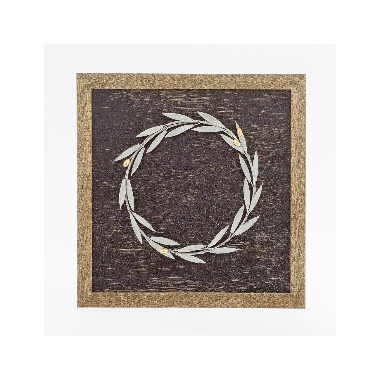 Olive/gray Metal Wall Decor With Trendy Olive Wreath 3D – Wood & Metal Handmade Wall Framed Artwork (View 16 of 20)