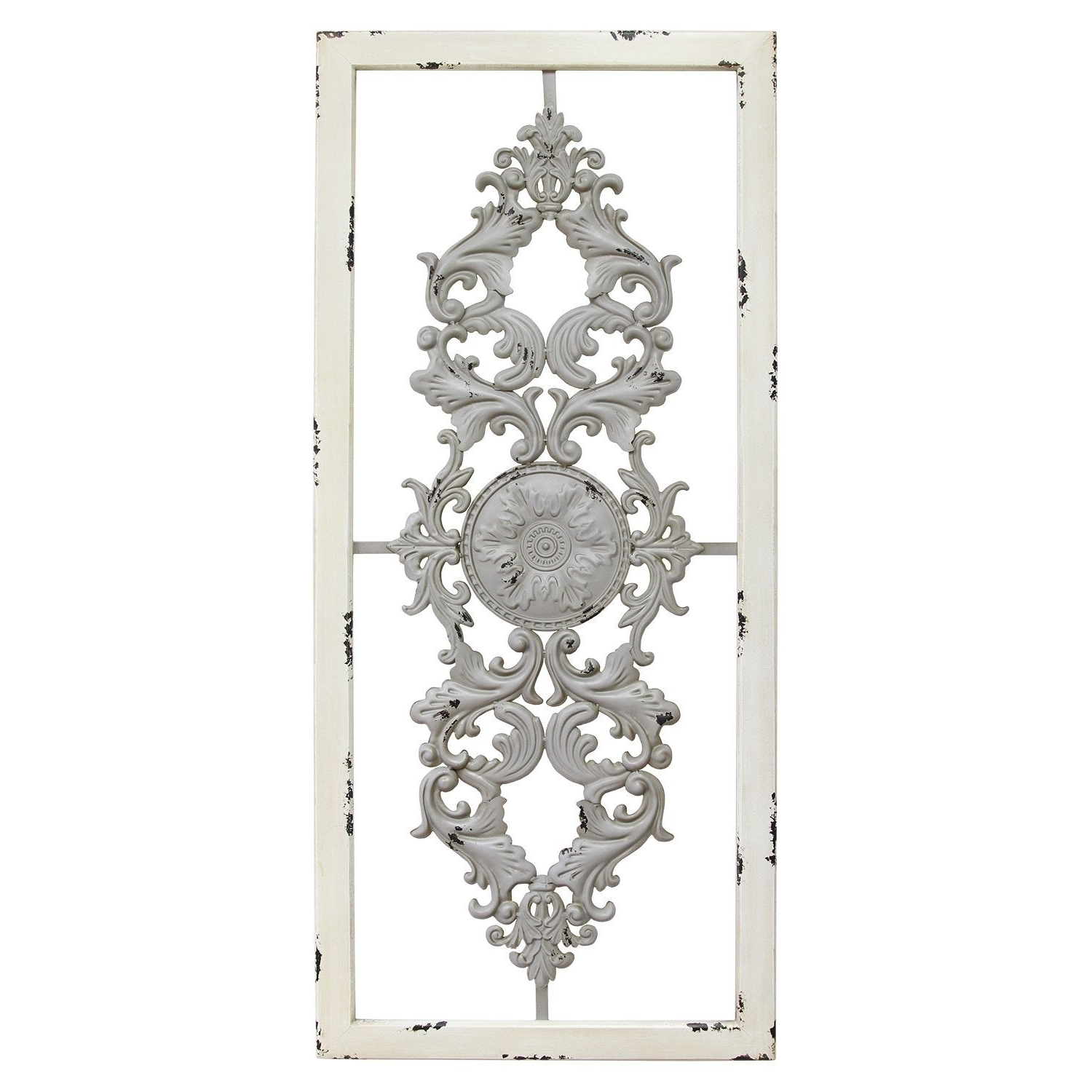 Ornate Scroll Wall Decor With Preferred Ornate Scroll Panel Grey Wall Decor White Frame 36X16 Metal Wood (View 12 of 20)