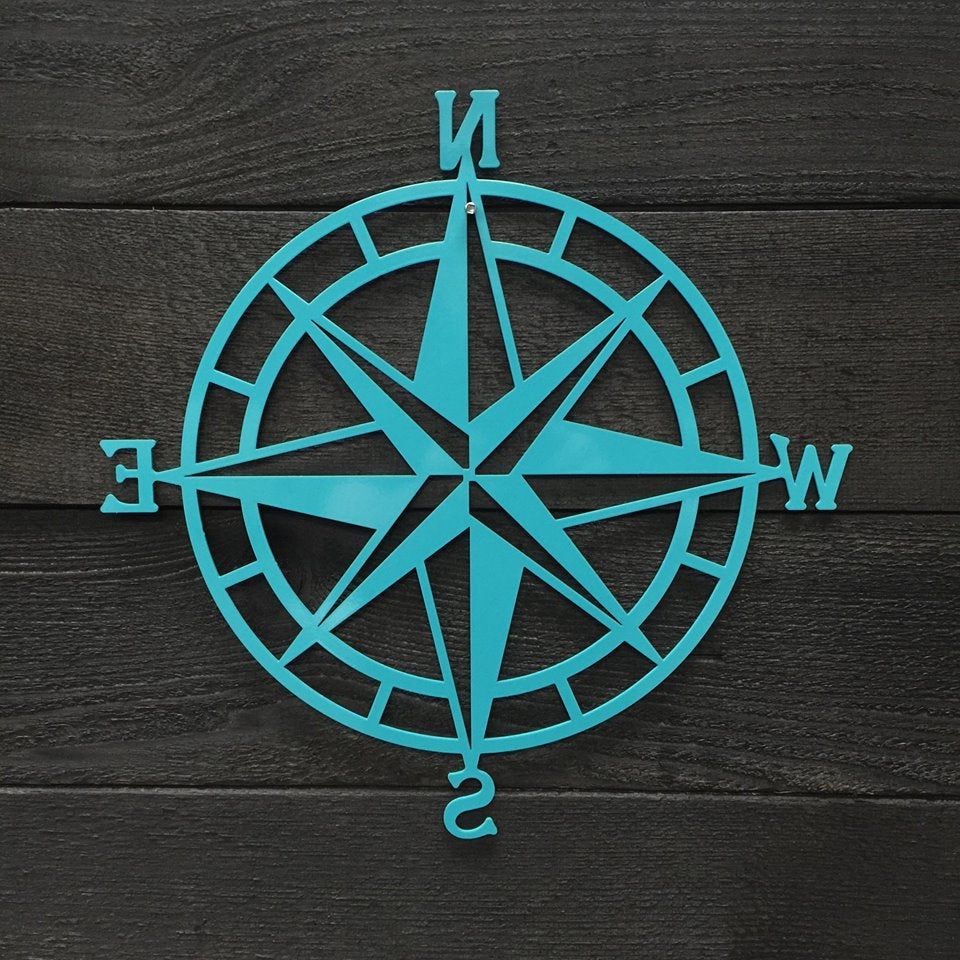 Outdoor Metal Wall Compass Pertaining To Newest Textured Navy: Nautical Compass – Nautical Wall Art – Metal Wall Art (Gallery 11 of 20)