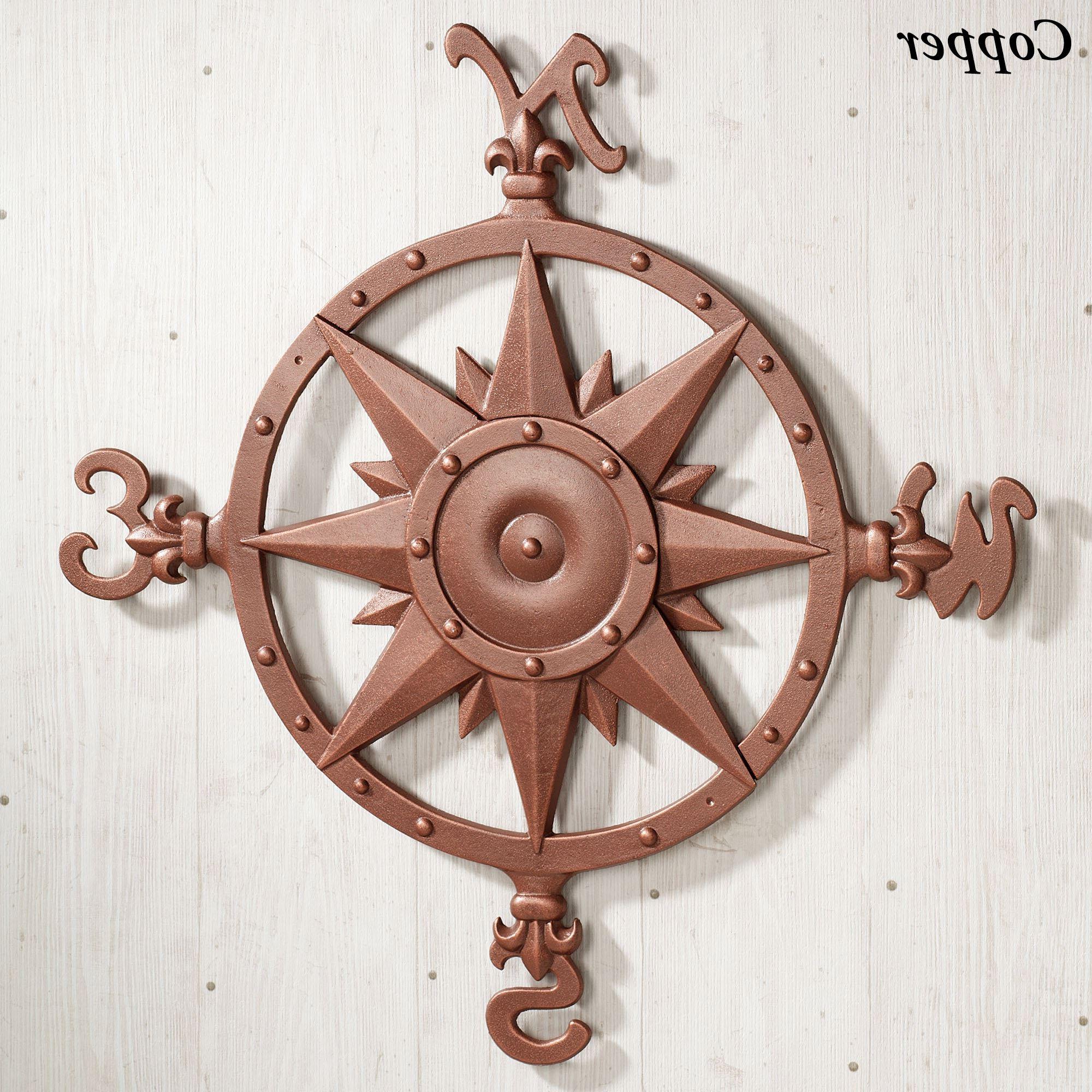 Outdoor Metal Wall Compass Regarding Trendy Indoor Outdoor Nautical Compass Metal Wall Art (View 13 of 20)