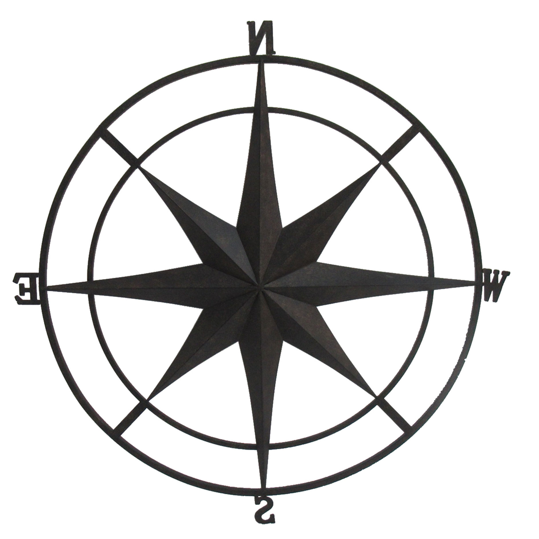 Outdoor Metal Wall Compass With Regard To Widely Used Gracie Oaks Outdoor Metal Wall Compass & Reviews (View 16 of 20)