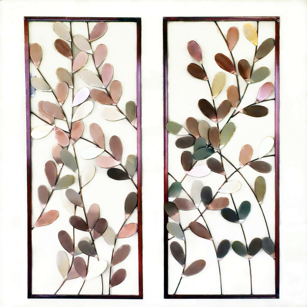 Pair Of Metal Wall Art Framed Wall Sculpture/ Wall Decor Leaves Tree With Widely Used Leaves Metal Sculpture Wall Decor (View 13 of 20)