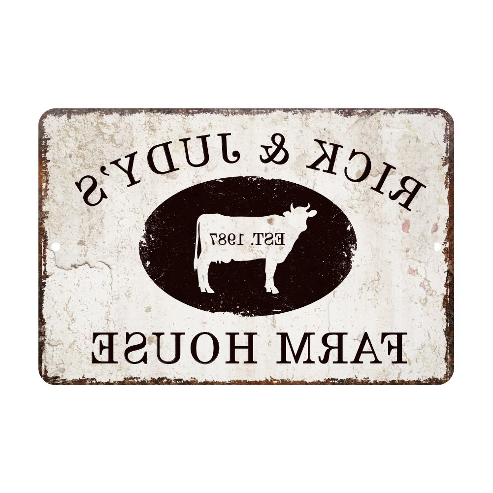 Personalized Distressed Vintage Look Kitchen Metal Sign Wall Decor Throughout Current Amazon: Personalized Vintage Distressed Look Farm House Metal (Gallery 3 of 20)