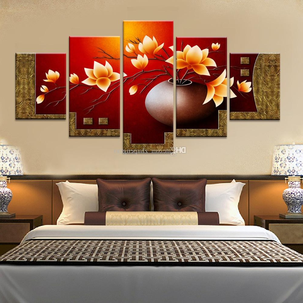 Popular 3 Piece Magnolia Brown Panel Wall Decor Sets For 2019 Magnolia Flower Vase Canvas Print Oil Painting Wall Pictures (View 15 of 20)