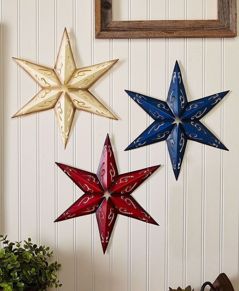 Popular 3 Piece Star Wall Decor Sets Throughout Sets Of 3 Metal Wall Stars, Holiday & Seasonal Decor, 4Th Of July (View 18 of 20)
