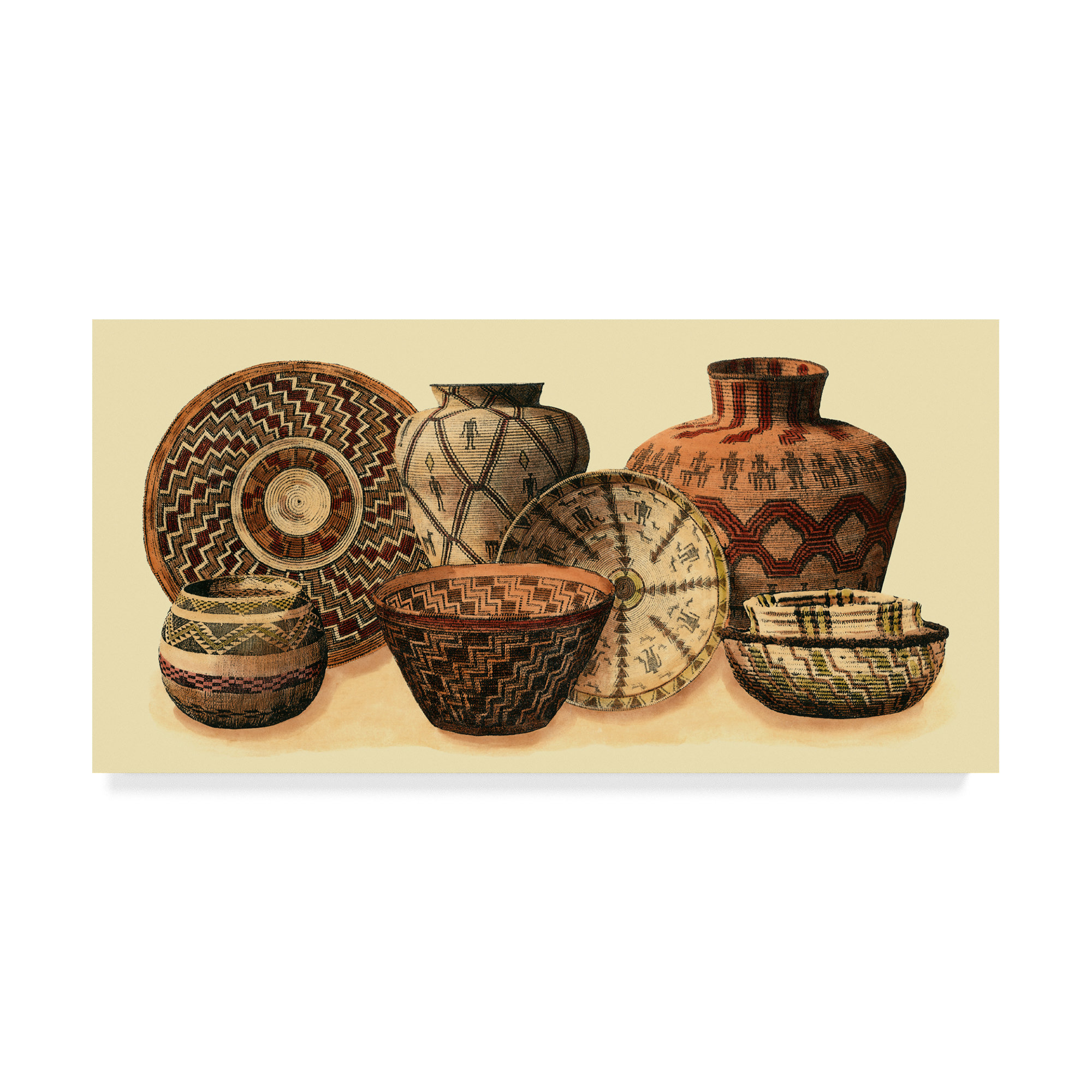 Popular 4 Piece Handwoven Wheel Wall Decor Sets Within Charlton Home 'hand Woven Baskets Vi' Graphic Art Print On Wrapped (View 5 of 20)