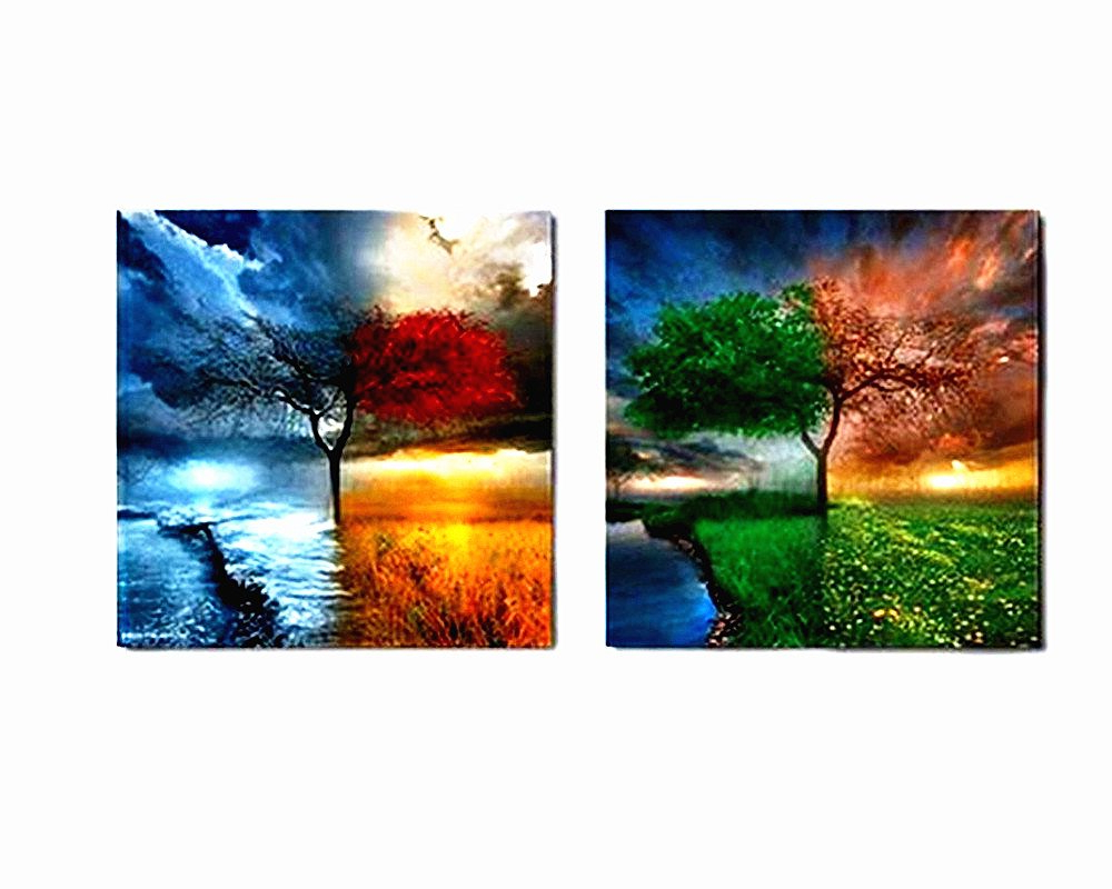 Popular Amazon: Berdecia Small Colorful Natural Landscape Oil Painting Regarding 4 Piece Wall Decor Sets (Gallery 5 of 20)