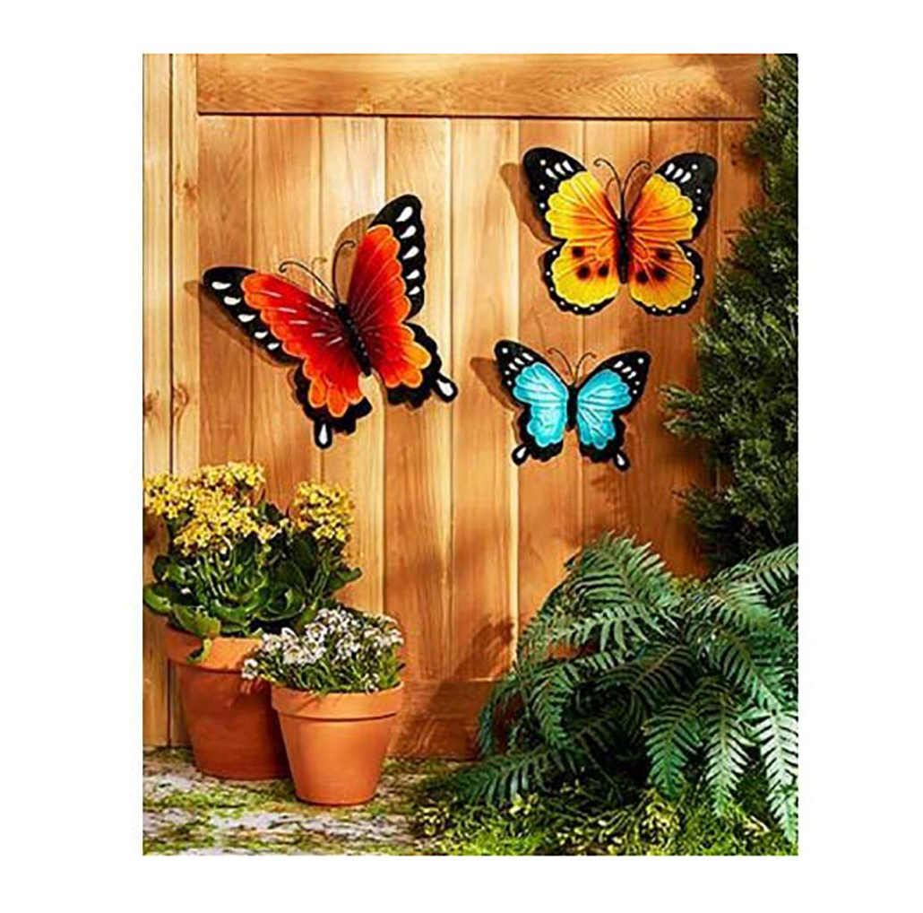 Popular Amazon : Wall Art Indoor / Outdoor Metal Wall Decor Butterfly In 4 Piece Metal Wall Plaque Decor Sets (View 10 of 20)