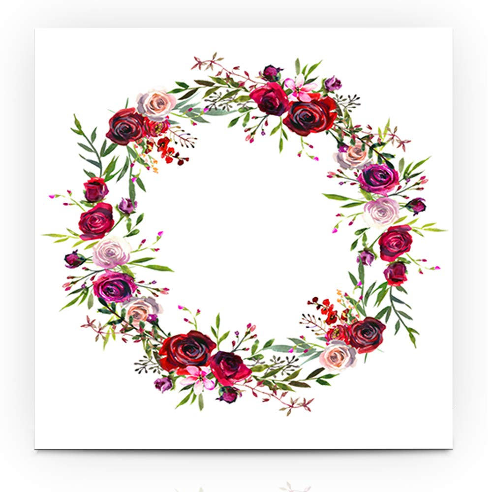 Popular Floral Wreath Wood Framed Wall Decor Within Amazon: Ahawoso Canvas Prints Wall Art 20x20 Inches Summer Red (View 20 of 20)