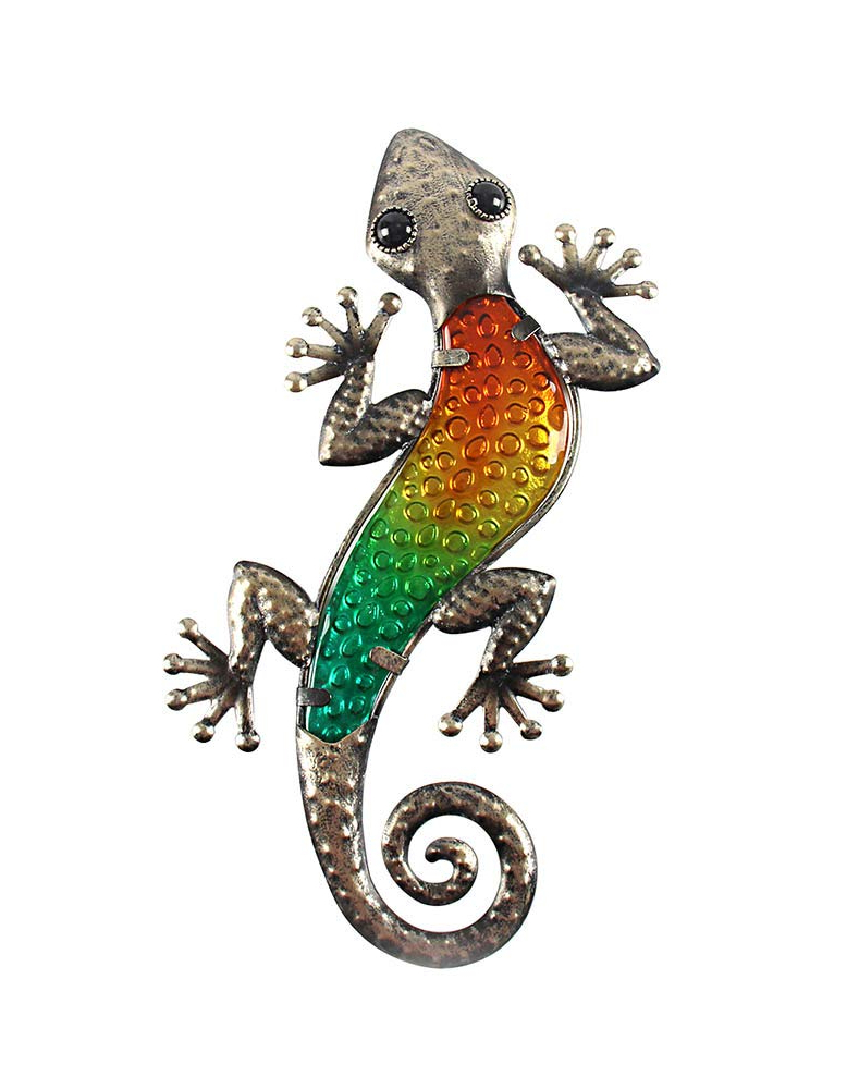 Popular Gecko Wall Decor With Amazon: Liffy Metal Gecko Wall Art Lizard Outdoor Decor Glass (Gallery 17 of 20)