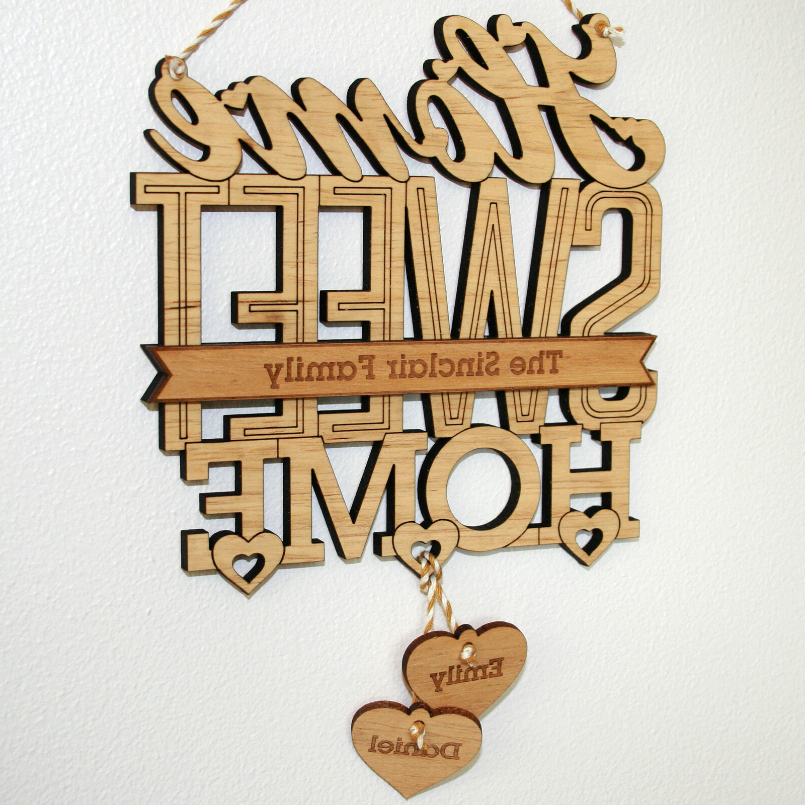 Popular Personalised 'home Sweet Home' House Warming Gift Plaque, New Home Throughout Laser Engraved Home Sweet Home Wall Decor (View 11 of 20)