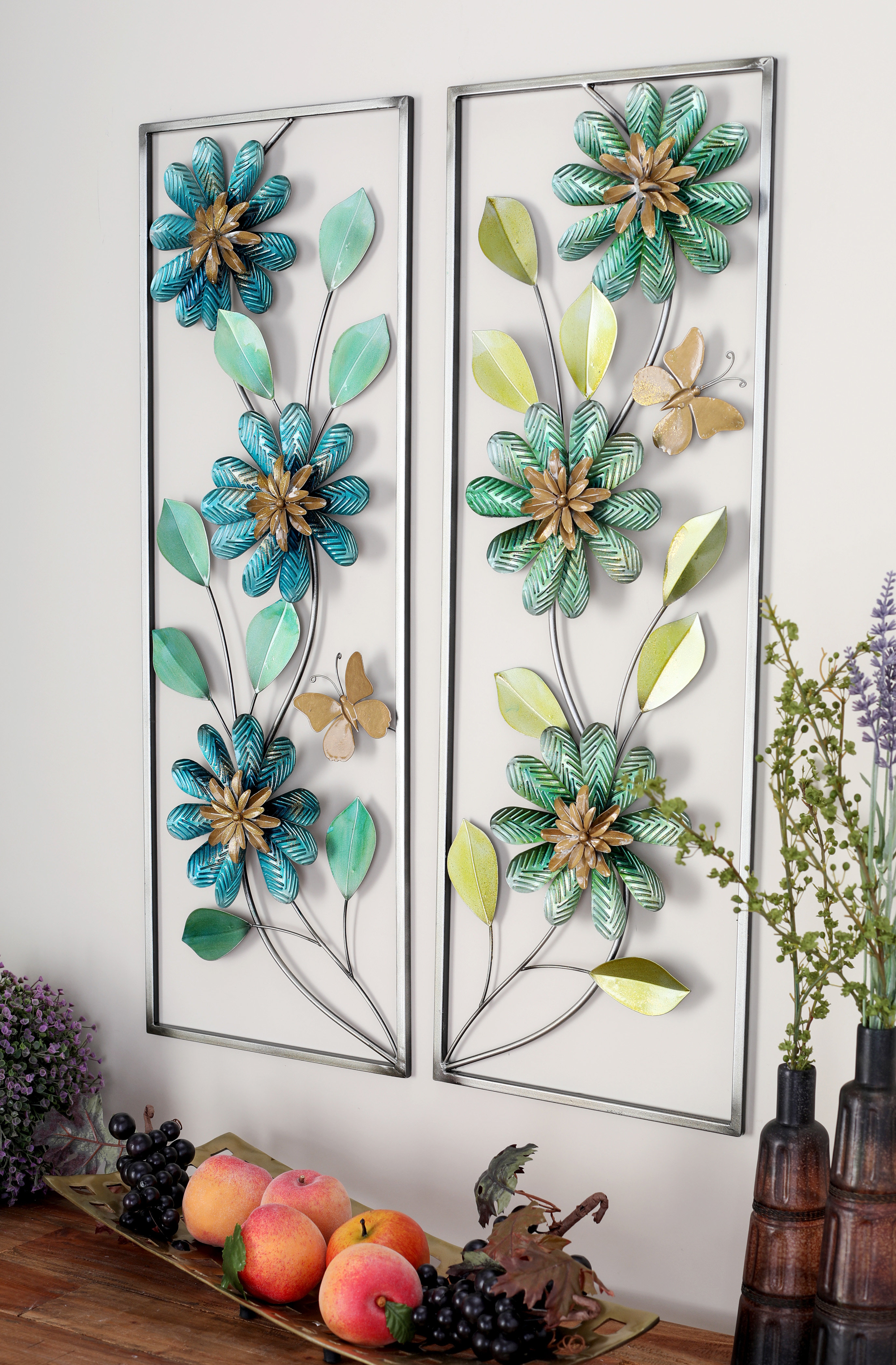 Popular Raheem Flowers Metal Wall Decor Intended For Cole & Grey 2 Piece Metal Wall Décor Set & Reviews (Gallery 5 of 20)