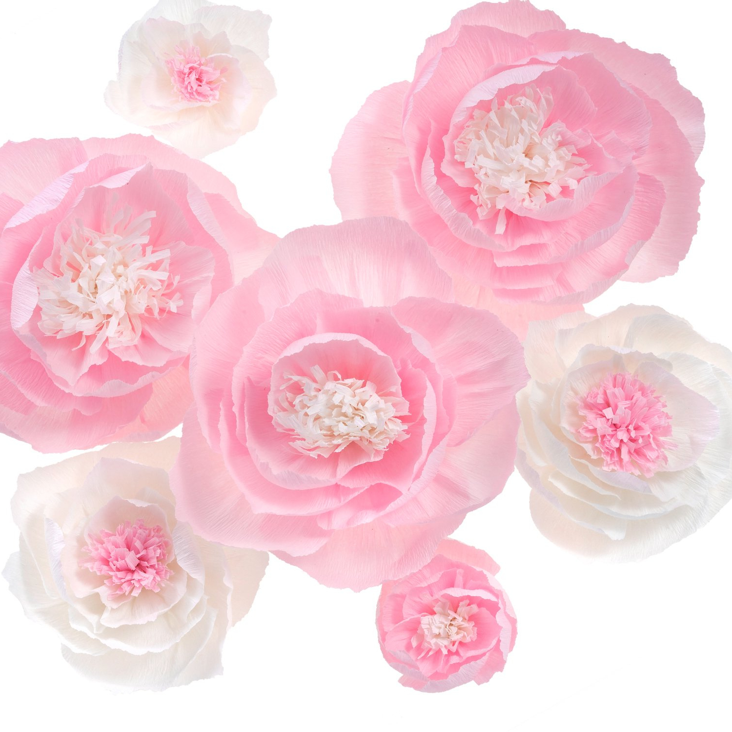 Preferred Amazon: Large Crepe Paper Flowers,handcrafted Flowers,for Shop With 3 Piece Ceramic Flowers Wall Decor Sets (View 20 of 20)