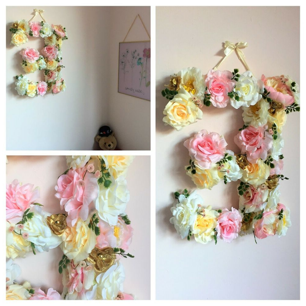 Preferred Flower Wall Decor Intended For Flower Letter, Floral Letter, Nursery Decor, Baby Girl Decor, Floral (Gallery 8 of 20)